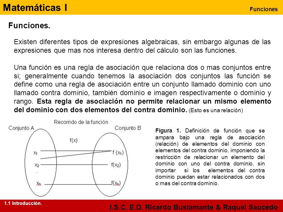 Matemáticas I Funciones I.S.C. E.D. Ricardo Bustamante & Raquel Saucedo Existen diferentes tipos de expresiones algebraicas, sin embargo algunas de la