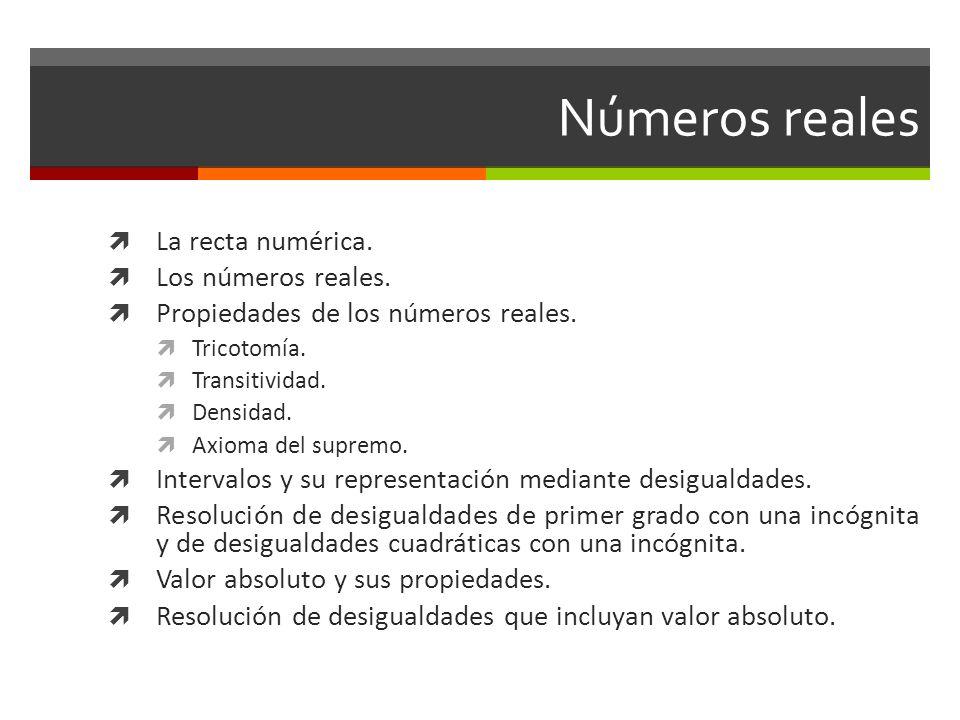 Números reales La recta numérica. Los números reales. Propiedades de los números reales. Tricotomía. Transitividad. Densidad. Axioma del supremo. Inte