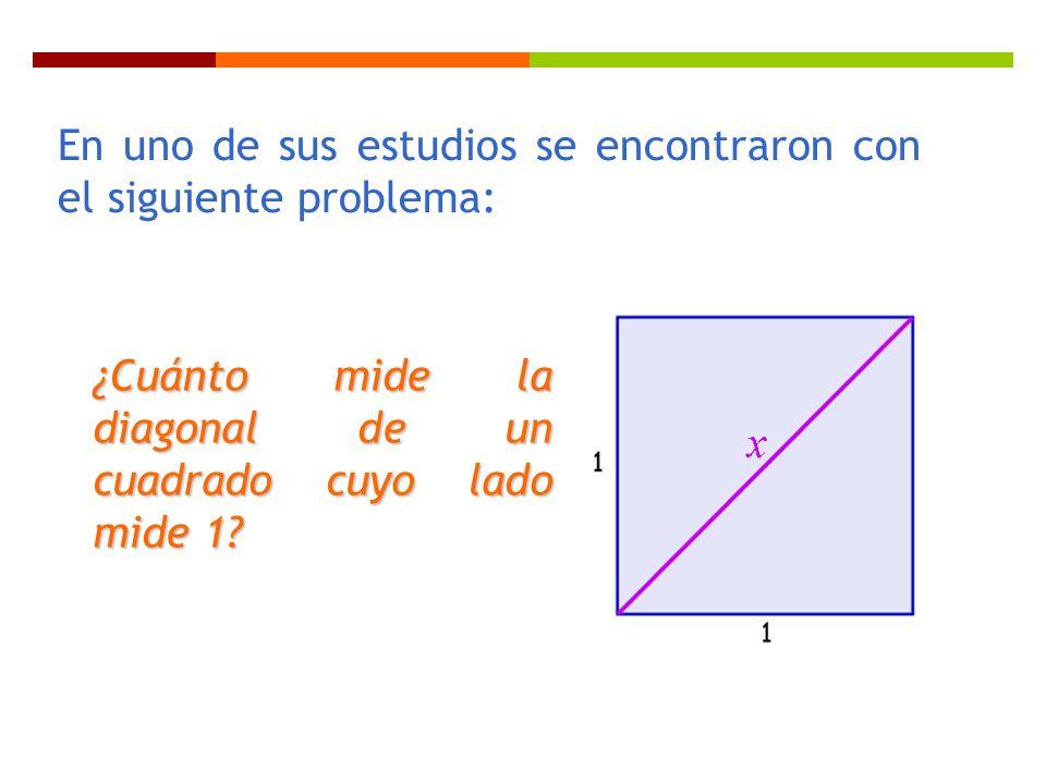 En uno de sus estudios se encontraron con el siguiente problema: ¿Cuánto mide la diagonal de un cuadrado cuyo lado mide 1?