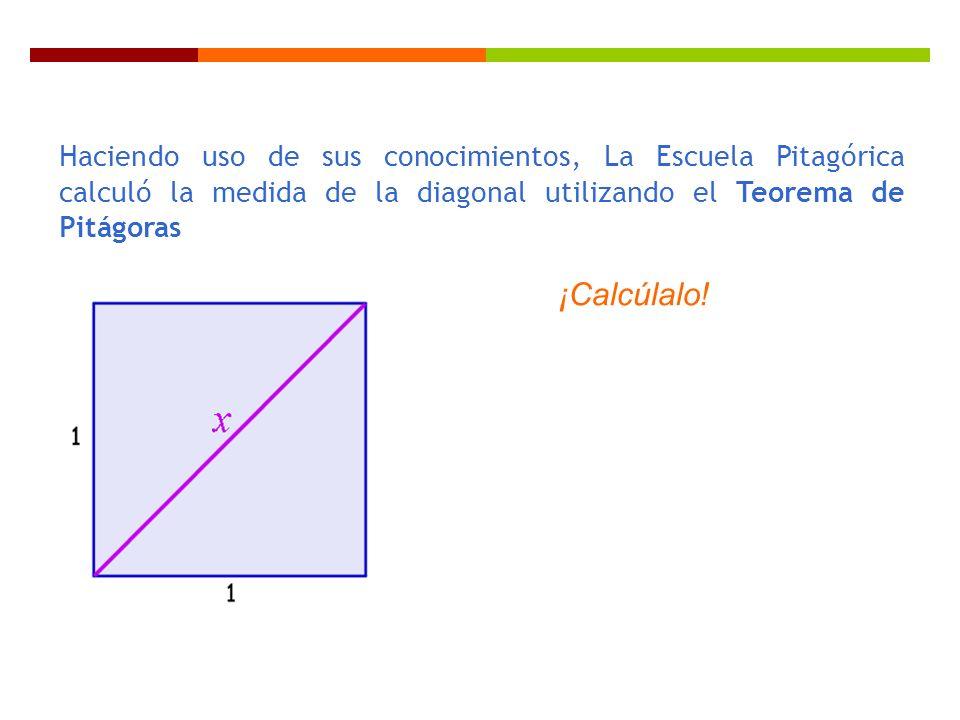 Haciendo uso de sus conocimientos, La Escuela Pitagórica calculó la medida de la diagonal utilizando el Teorema de Pitágoras ¡Calcúlalo!