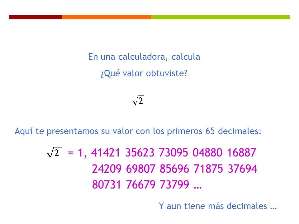 = 1, 41421 35623 73095 04880 16887 24209 69807 85696 71875 37694 80731 76679 73799 … En una calculadora, calcula ¿Qué valor obtuviste? Aquí te present