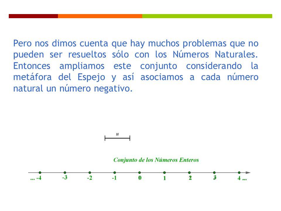 Pero nos dimos cuenta que hay muchos problemas que no pueden ser resueltos sólo con los Números Naturales. Entonces ampliamos este conjunto consideran