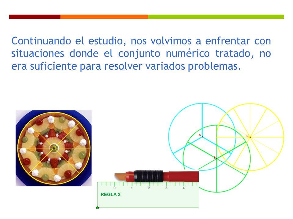 Continuando el estudio, nos volvimos a enfrentar con situaciones donde el conjunto numérico tratado, no era suficiente para resolver variados problema