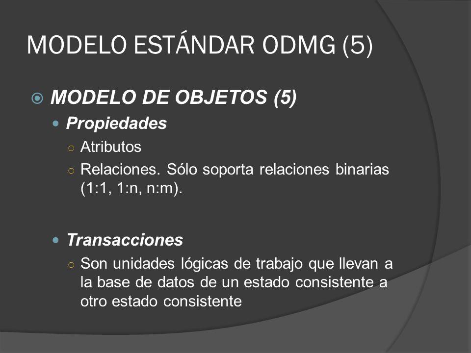 MODELO ESTÁNDAR ODMG (5) MODELO DE OBJETOS (5) Propiedades Atributos Relaciones. Sólo soporta relaciones binarias (1:1, 1:n, n:m). Transacciones Son u