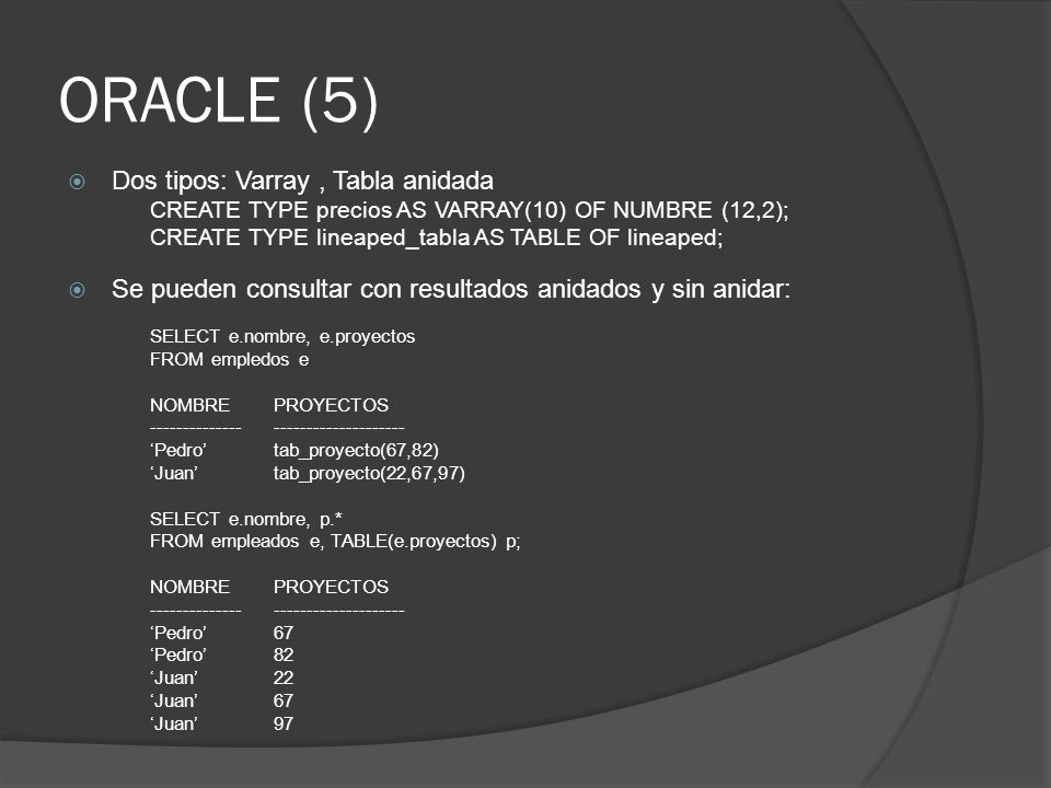 ORACLE (5) Dos tipos: Varray, Tabla anidada CREATE TYPE precios AS VARRAY(10) OF NUMBRE (12,2); CREATE TYPE lineaped_tabla AS TABLE OF lineaped; Se pueden consultar con resultados anidados y sin anidar: SELECT e.nombre, e.proyectos FROM empledos e NOMBREPROYECTOS ---------------------------------- Pedrotab_proyecto(67,82) Juantab_proyecto(22,67,97) SELECT e.nombre, p.* FROM empleados e, TABLE(e.proyectos) p; NOMBREPROYECTOS ---------------------------------- Pedro67 Pedro82 Juan22 Juan67 Juan97