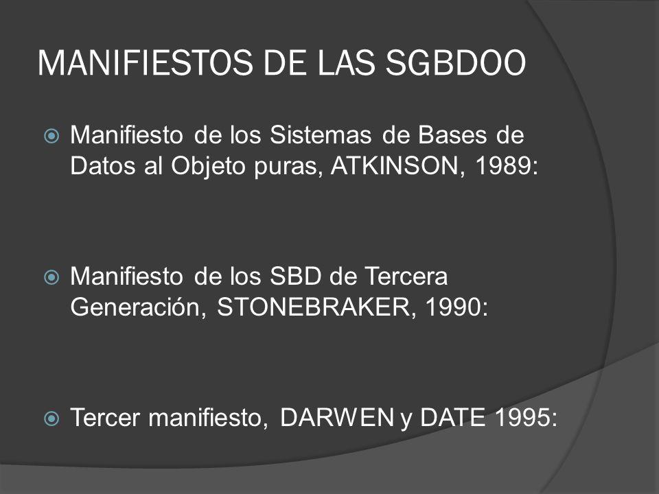 MANIFIESTOS DE LAS SGBDOO Manifiesto de los Sistemas de Bases de Datos al Objeto puras, ATKINSON, 1989: Manifiesto de los SBD de Tercera Generación, S