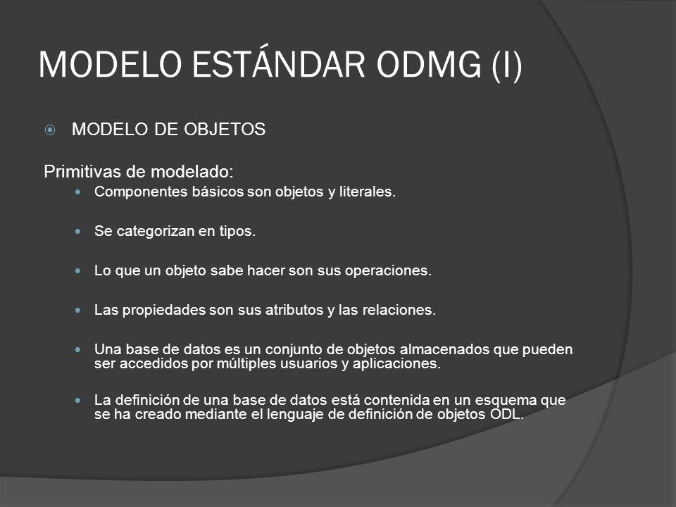 MODELO ESTÁNDAR ODMG (I) MODELO DE OBJETOS Primitivas de modelado: Componentes básicos son objetos y literales. Se categorizan en tipos. Lo que un obj