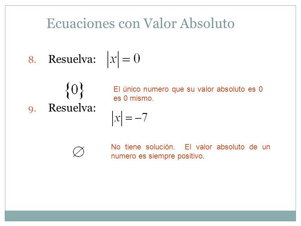 Ecuaciones con Valor Absoluto 8. Resuelva: 9. Resuelva: El único numero que su valor absoluto es 0 es 0 mismo. No tiene solución. El valor absoluto de