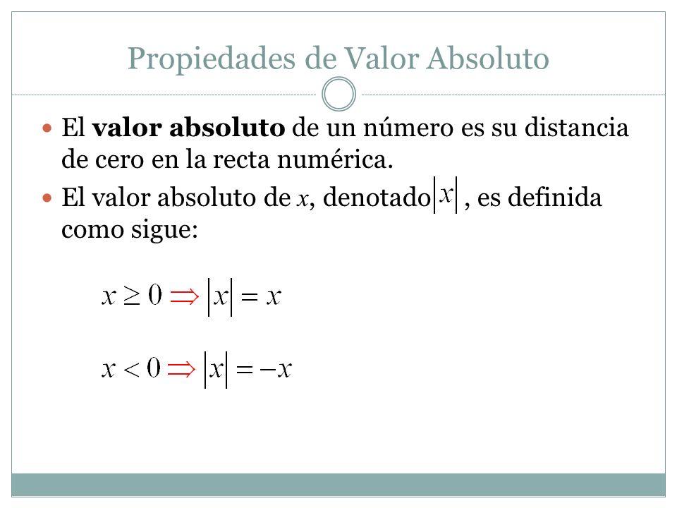 Propiedades de Valor Absoluto a) Para cualquier número a y b, b) (El valor absoluto de un producto es el producto de los valores absolutos.) (El valor absoluto de un cociente es el cociente de valores absolutos.)