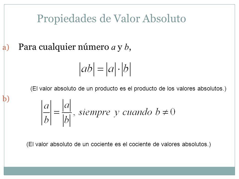 Propiedades de Valor Absoluto a) Para cualquier número a y b, b) (El valor absoluto de un producto es el producto de los valores absolutos.) (El valor