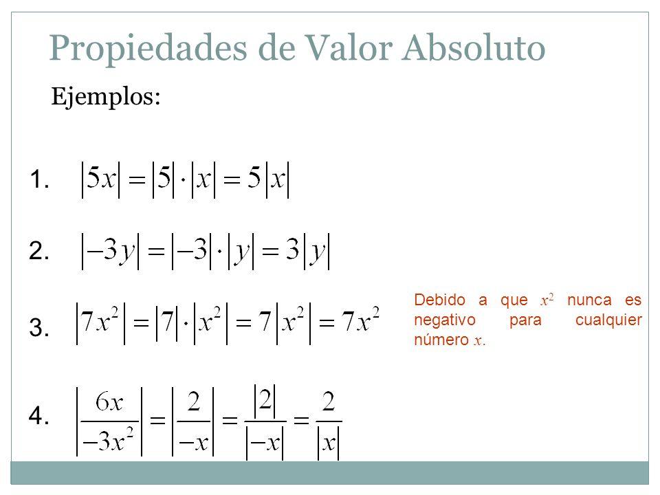 Propiedades de Valor Absoluto Ejemplos: 1. 2. 3. 4. Debido a que x 2 nunca es negativo para cualquier número x.