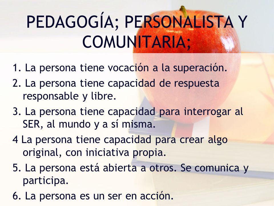 PEDAGOGÍA; PERSONALISTA Y COMUNITARIA; 1. La persona tiene vocación a la superación. 2. La persona tiene capacidad de respuesta responsable y libre. 3