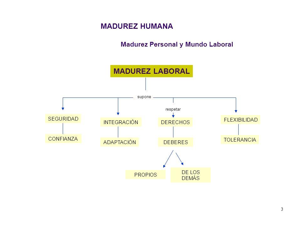 3 Madurez Personal y Mundo Laboral MADUREZ LABORAL supone SEGURIDAD CONFIANZA INTEGRACIÓN ADAPTACIÓN DERECHOS DEBERES FLEXIBILIDAD TOLERANCIA respetar