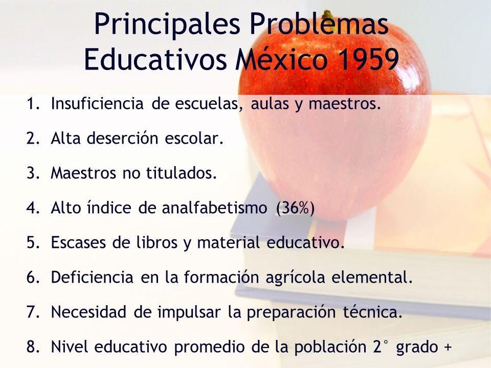 Principales Problemas Educativos México 1959 1.Insuficiencia de escuelas, aulas y maestros. 2.Alta deserción escolar. 3.Maestros no titulados. 4.Alto