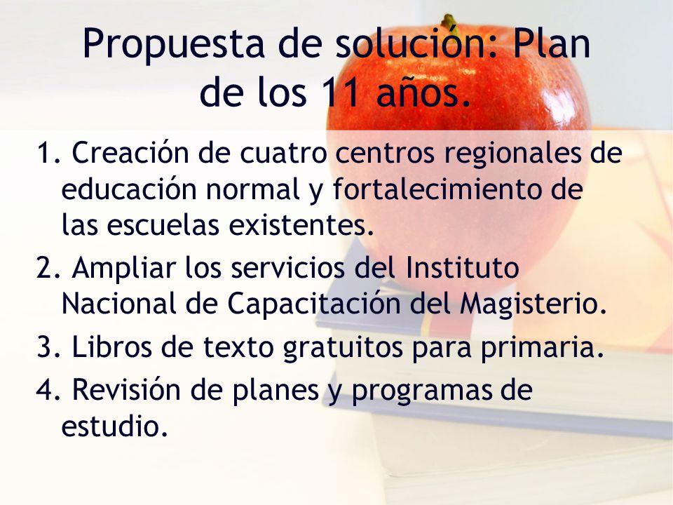 Propuesta de solución: Plan de los 11 años. 1. Creación de cuatro centros regionales de educación normal y fortalecimiento de las escuelas existentes.