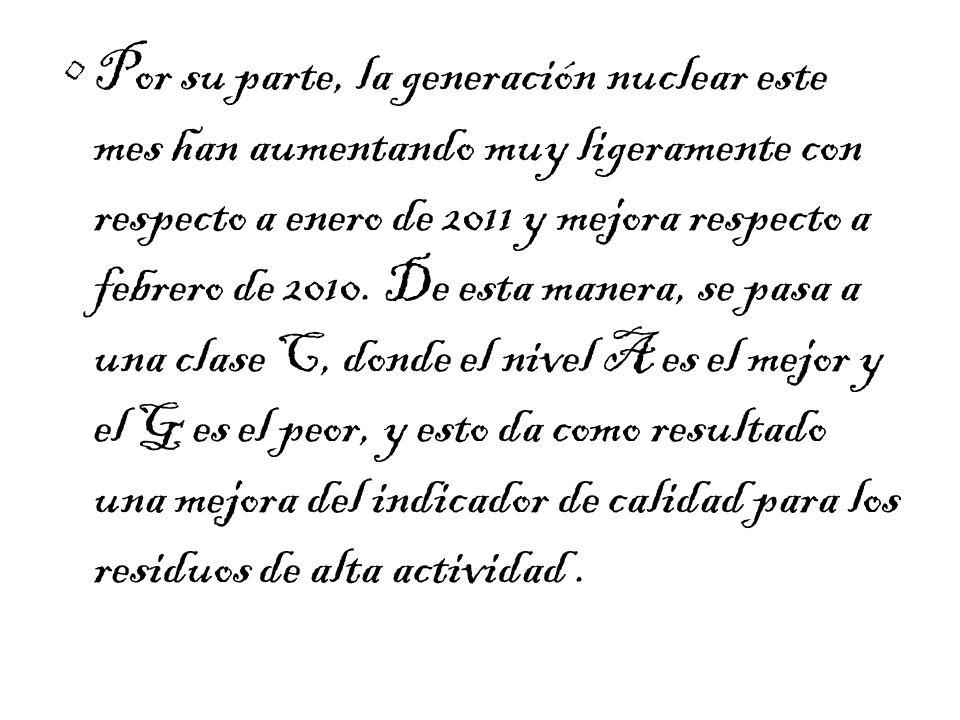 Por su parte, la generación nuclear este mes han aumentando muy ligeramente con respecto a enero de 2011 y mejora respecto a febrero de 2010.