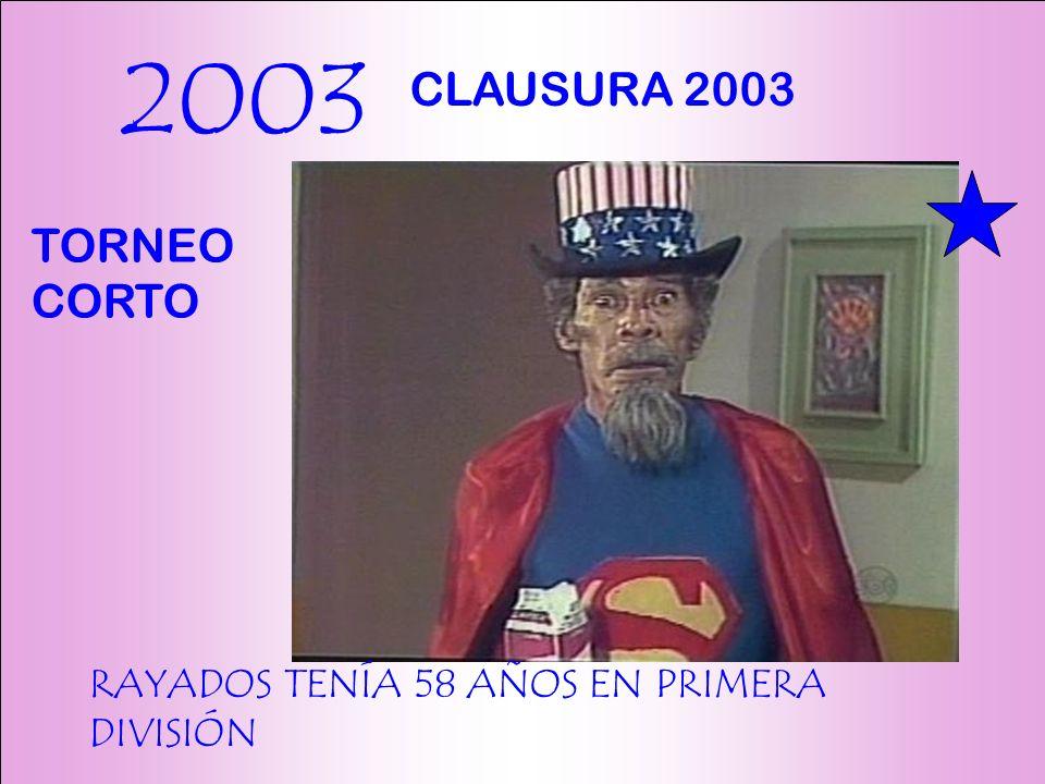2003 RAYADOS TENÍA 58 AÑOS EN PRIMERA DIVISIÓN CLAUSURA 2003 TORNEO CORTO