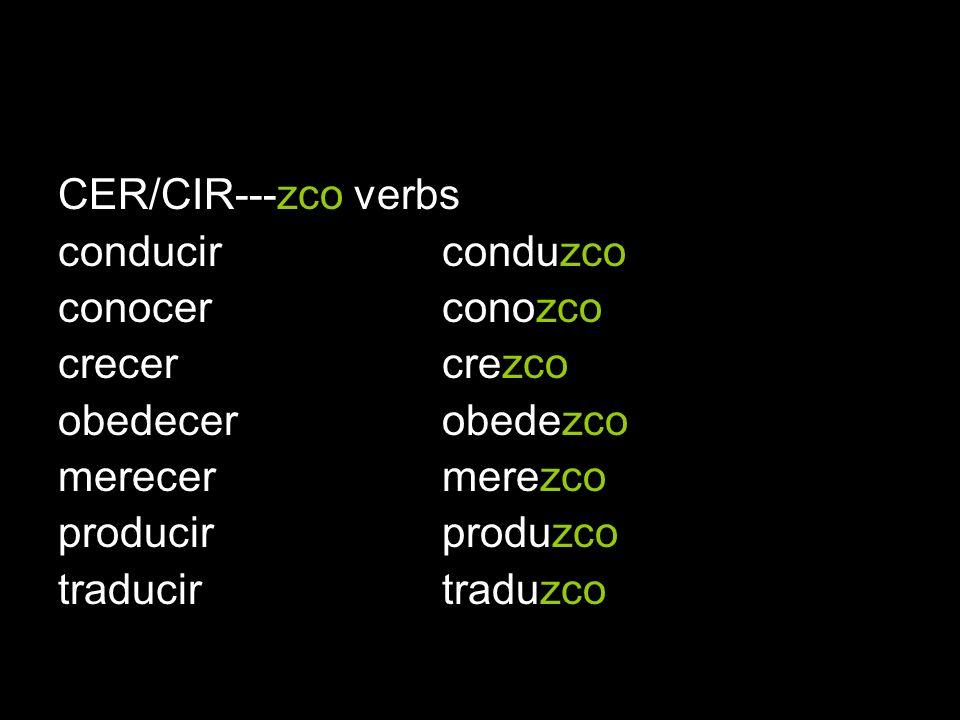 CER/CIR---zco verbs conducirconduzco conocer conozco crecer crezco obedecer obedezco merecer merezco producir produzco traducir traduzco