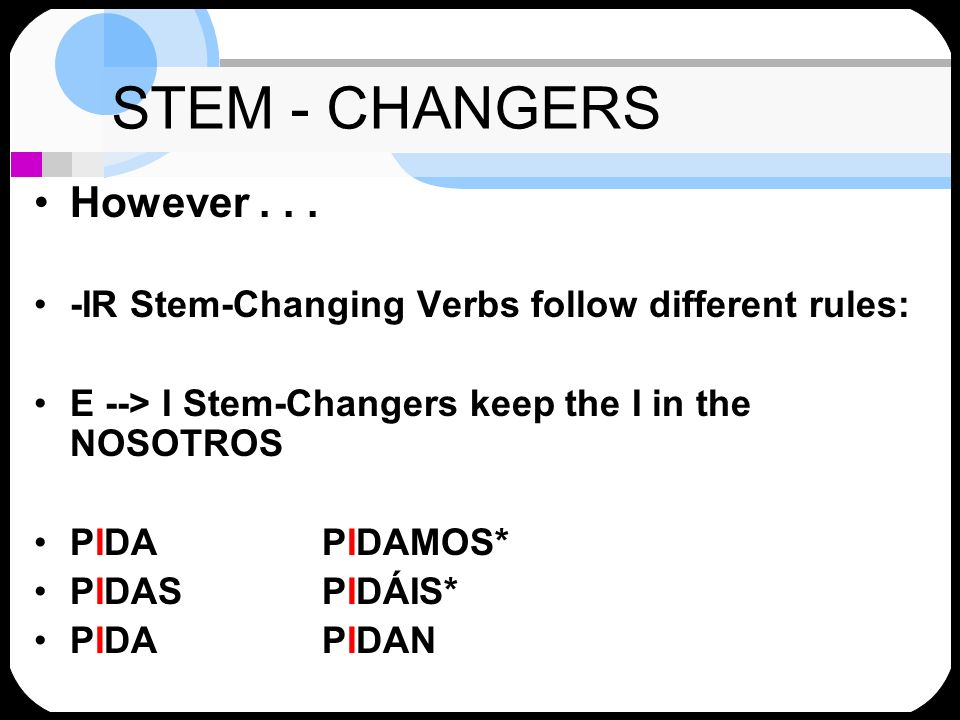 STEM - CHANGERS However... -IR Stem-Changing Verbs follow different rules: E --> I Stem-Changers keep the I in the NOSOTROS PIDAPIDAMOS* PIDASPIDÁIS*
