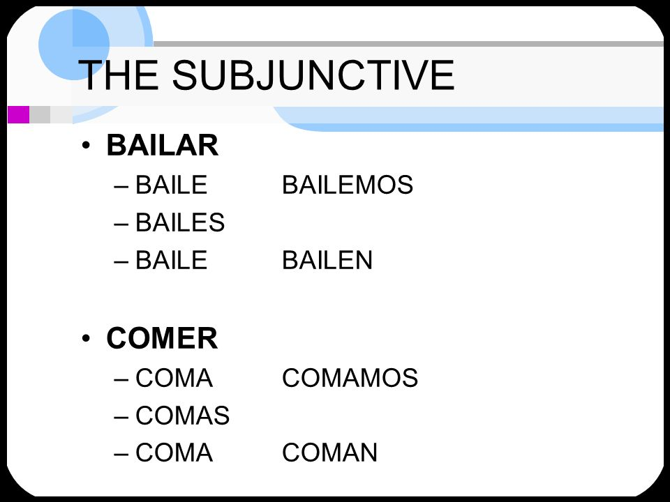THE SUBJUNCTIVE Why start with YO form.
