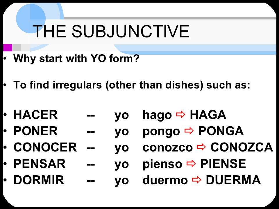 THE SUBJUNCTIVE Why start with YO form? To find irregulars (other than dishes) such as: HACER-- yo hago HAGA PONER-- yo pongo PONGA CONOCER -- yo cono