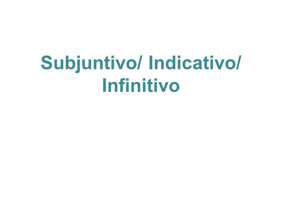 Subjuntivo/ Indicativo/ Infinitivo