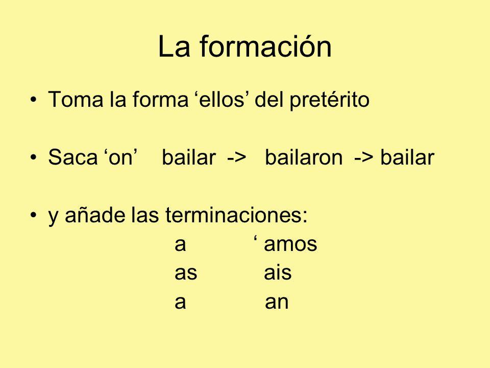 La formación Toma la forma ellos del pretérito Saca on bailar -> bailaron -> bailar y añade las terminaciones: a amos as ais a an