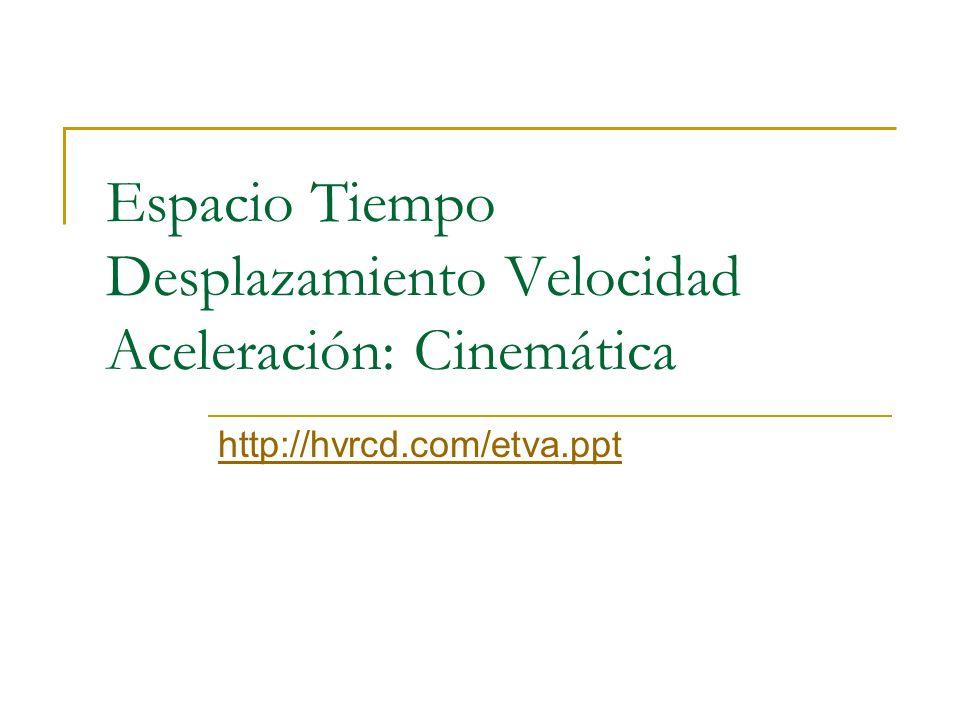 Espacio Tiempo Desplazamiento Velocidad Aceleración: Cinemática http://hvrcd.com/etva.ppt