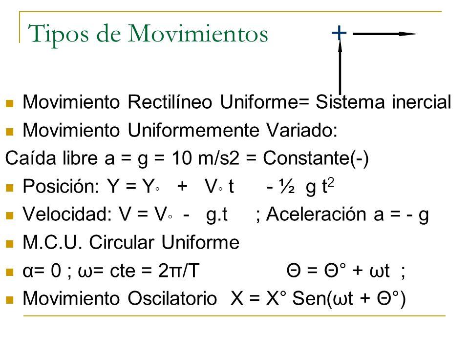 Tipos de Movimientos + Movimiento Rectilíneo Uniforme= Sistema inercial Movimiento Uniformemente Variado: Caída libre a = g = 10 m/s2 = Constante(-) P