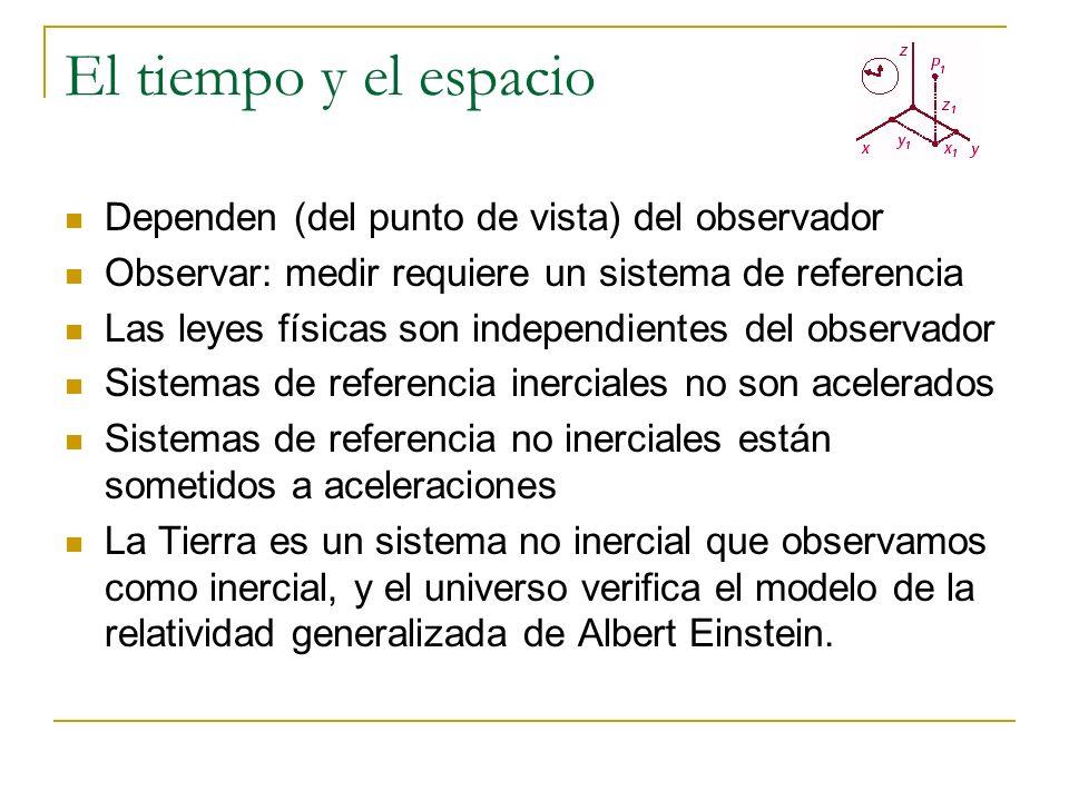 El tiempo y el espacio Dependen (del punto de vista) del observador Observar: medir requiere un sistema de referencia Las leyes físicas son independie