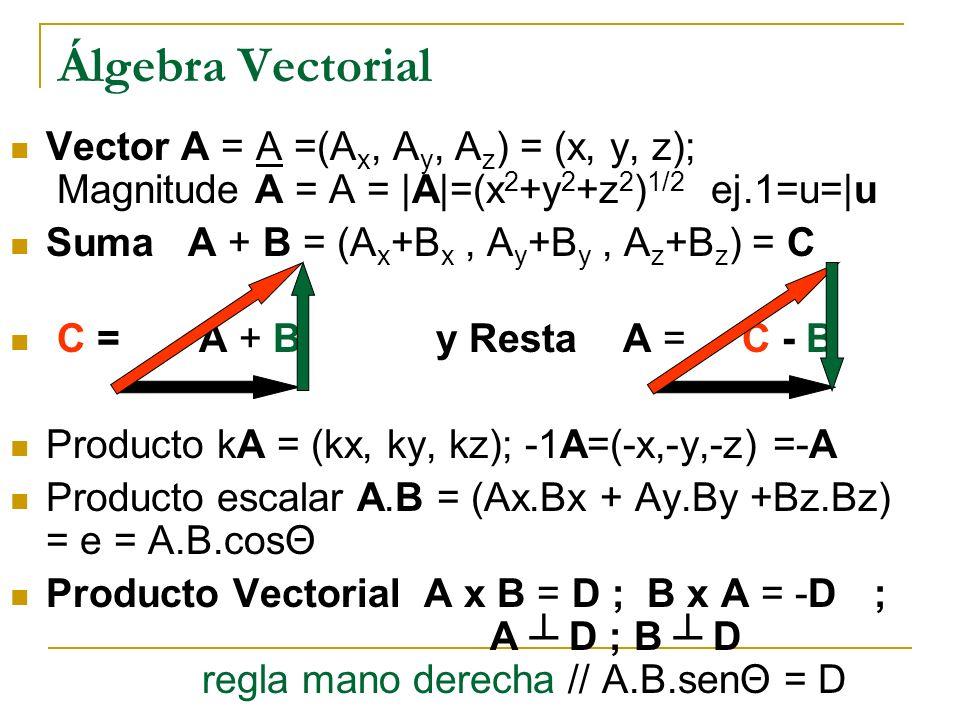 Álgebra Vectorial Vector A = A =(A x, A y, A z ) = (x, y, z); Magnitude A = A = |A|=(x 2 +y 2 +z 2 ) 1/2 ej.1=u=|u Suma A + B = (A x +B x, A y +B y, A