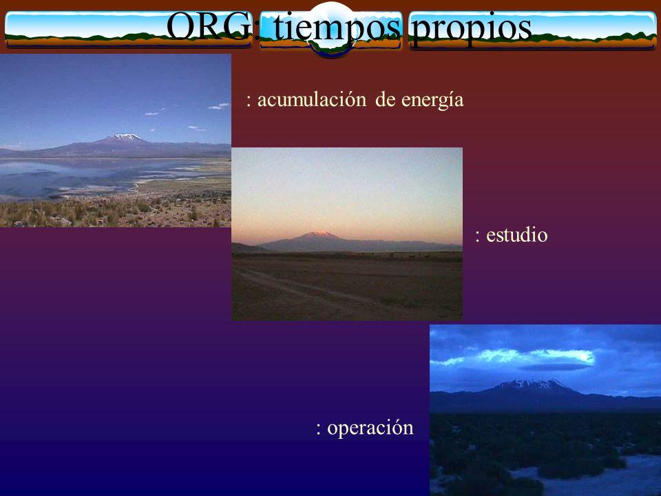 : acumulación de energía : estudio : operación ORG: tiempos propios
