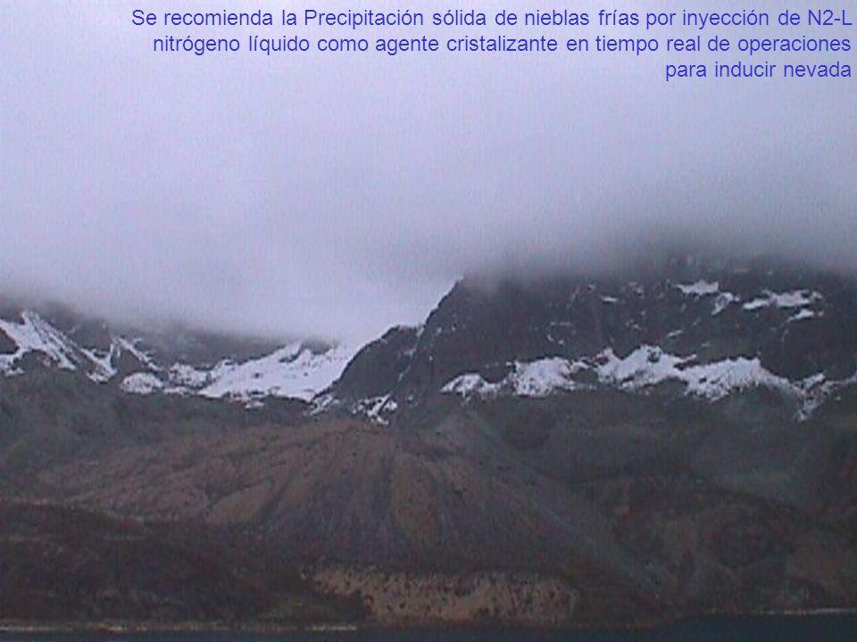 Se recomienda la Precipitación sólida de nieblas frías por inyección de N2-L nitrógeno líquido como agente cristalizante en tiempo real de operaciones
