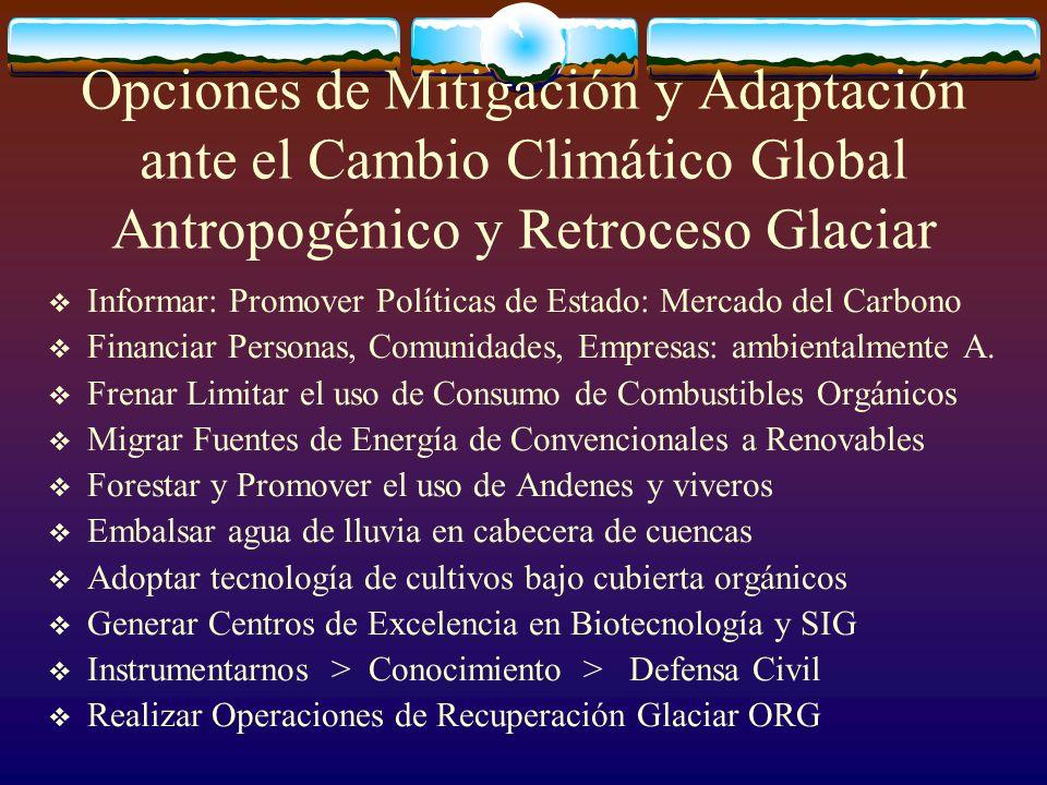 Opciones de Mitigación y Adaptación ante el Cambio Climático Global Antropogénico y Retroceso Glaciar Informar: Promover Políticas de Estado: Mercado