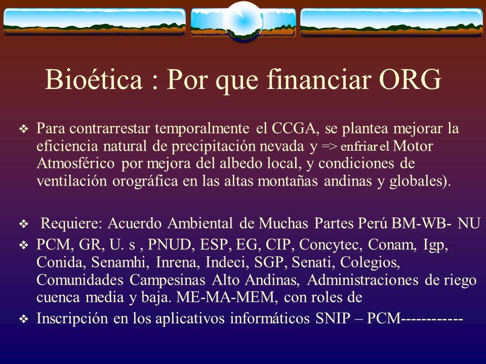 Bioética : Por que financiar ORG Para contrarrestar temporalmente el CCGA, se plantea mejorar la eficiencia natural de precipitación nevada y => enfri