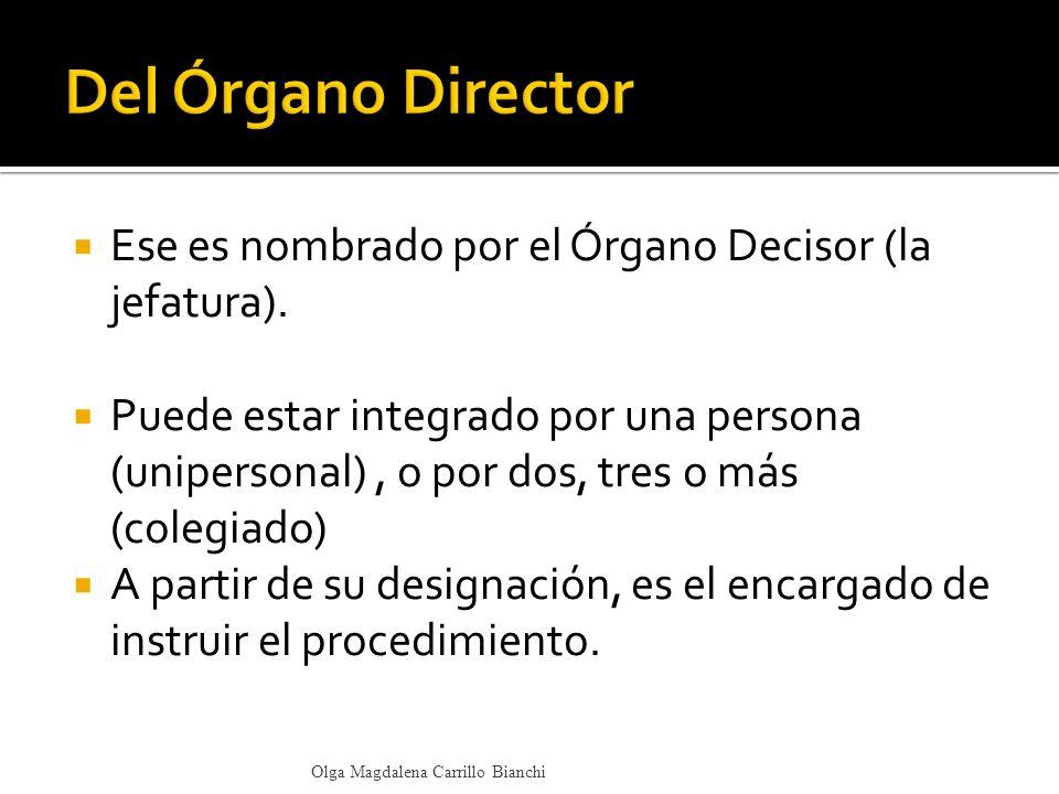 Ese es nombrado por el Órgano Decisor (la jefatura). Puede estar integrado por una persona (unipersonal), o por dos, tres o más (colegiado) A partir d