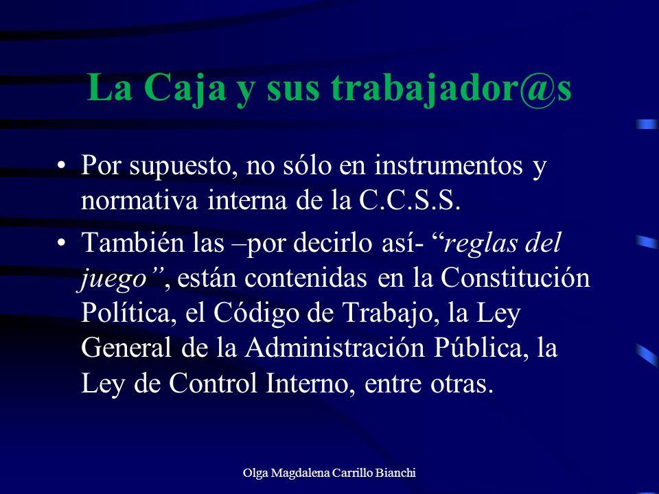 LA C.C.S.S VERSUS PATRONOS PRIVADOS En la Caja NO SE PUEDE DESPEDIR A NINGUNA PERSONA TRABAJADORA, aunque se suponga que ha cometido una falta, si antes NO SE LE REALIZA UN PROCEDIMIENTO ADMINISTRATIVO en el cual se pruebe, más allá de duda razonable, que efectivamente cometió el hecho que constituye una falta Olga Magdalena Carrillo Bianchi