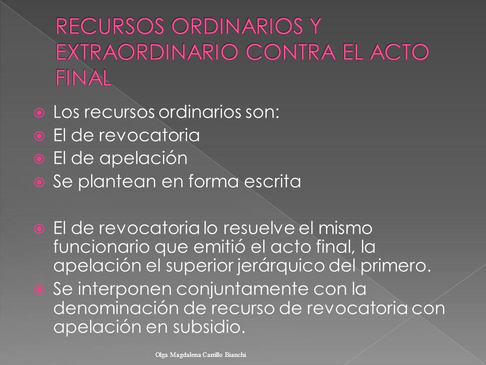 Los recursos ordinarios son: El de revocatoria El de apelación Se plantean en forma escrita El de revocatoria lo resuelve el mismo funcionario que emi