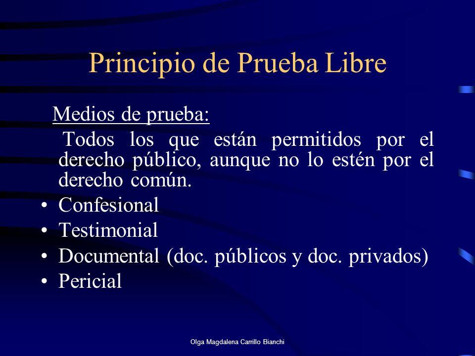 Principio de Prueba Libre Medios de prueba: Todos los que están permitidos por el derecho público, aunque no lo estén por el derecho común. Confesiona
