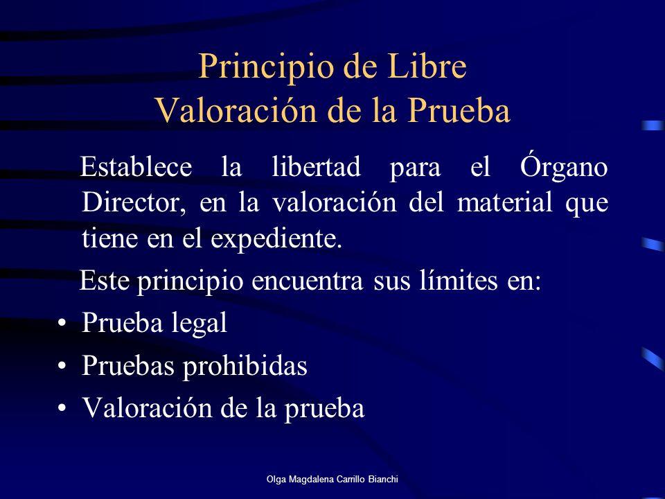 Principio de Libre Valoración de la Prueba Establece la libertad para el Órgano Director, en la valoración del material que tiene en el expediente. Es