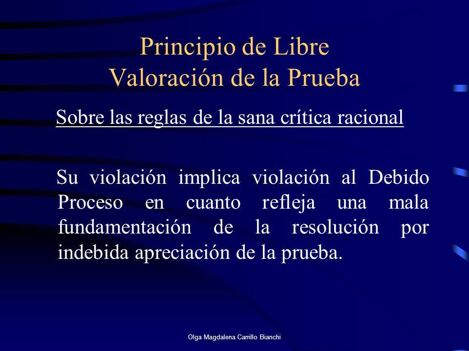 Principio de Libre Valoración de la Prueba Sobre las reglas de la sana crítica racional Su violación implica violación al Debido Proceso en cuanto ref
