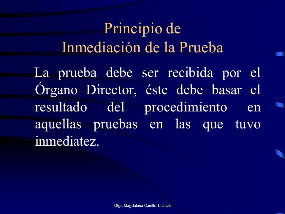Principio de Inmediación de la Prueba La prueba debe ser recibida por el Órgano Director, éste debe basar el resultado del procedimiento en aquellas p