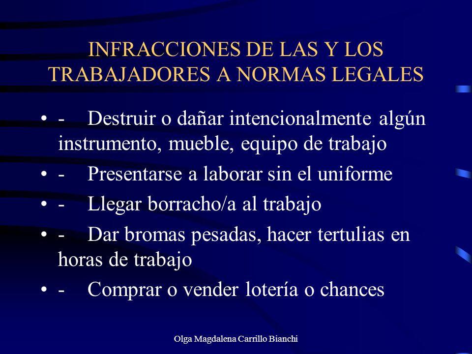 INFRACCIONES DE LAS Y LOS TRABAJADORES A NORMAS LEGALES -Destruir o dañar intencionalmente algún instrumento, mueble, equipo de trabajo -Presentarse a