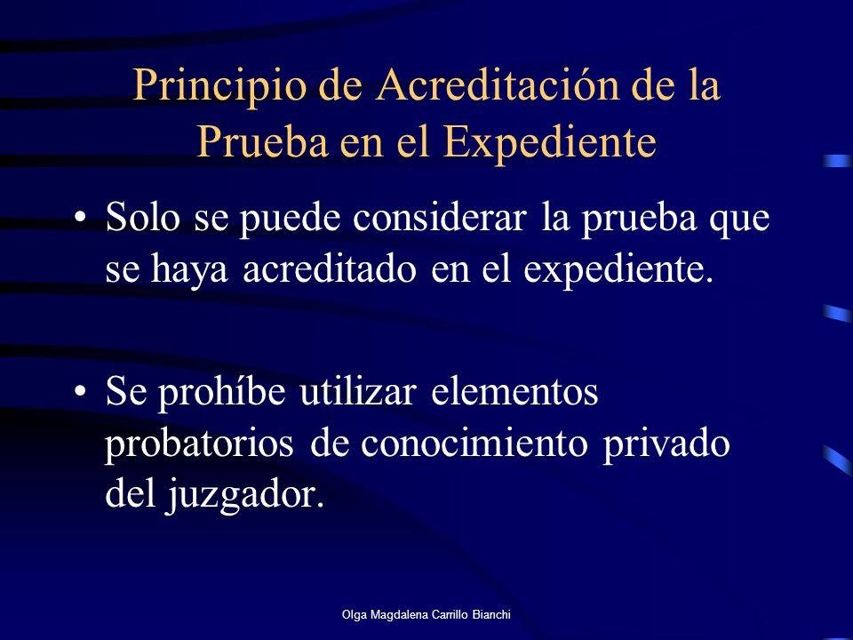 Principio de Acreditación de la Prueba en el Expediente Solo se puede considerar la prueba que se haya acreditado en el expediente. Se prohíbe utiliza