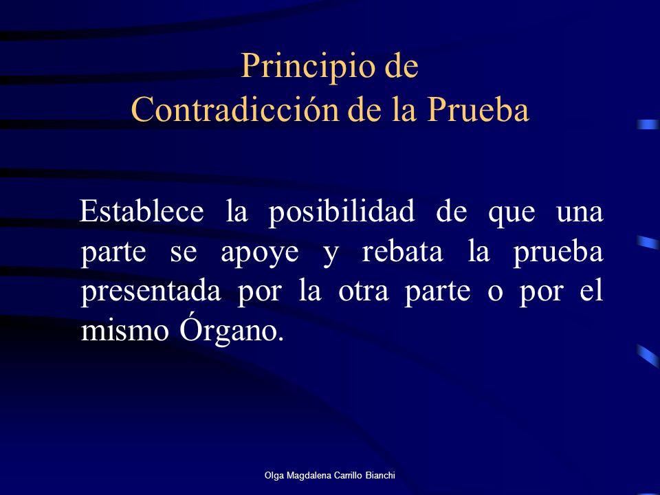 Principio de Contradicción de la Prueba Establece la posibilidad de que una parte se apoye y rebata la prueba presentada por la otra parte o por el mi