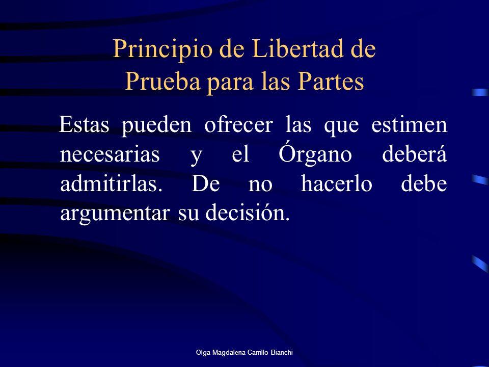 Principio de Libertad de Prueba para las Partes Estas pueden ofrecer las que estimen necesarias y el Órgano deberá admitirlas. De no hacerlo debe argu