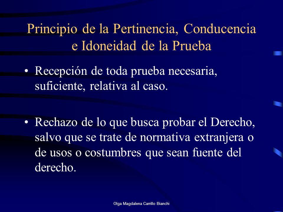 Principio de la Pertinencia, Conducencia e Idoneidad de la Prueba Recepción de toda prueba necesaria, suficiente, relativa al caso. Rechazo de lo que