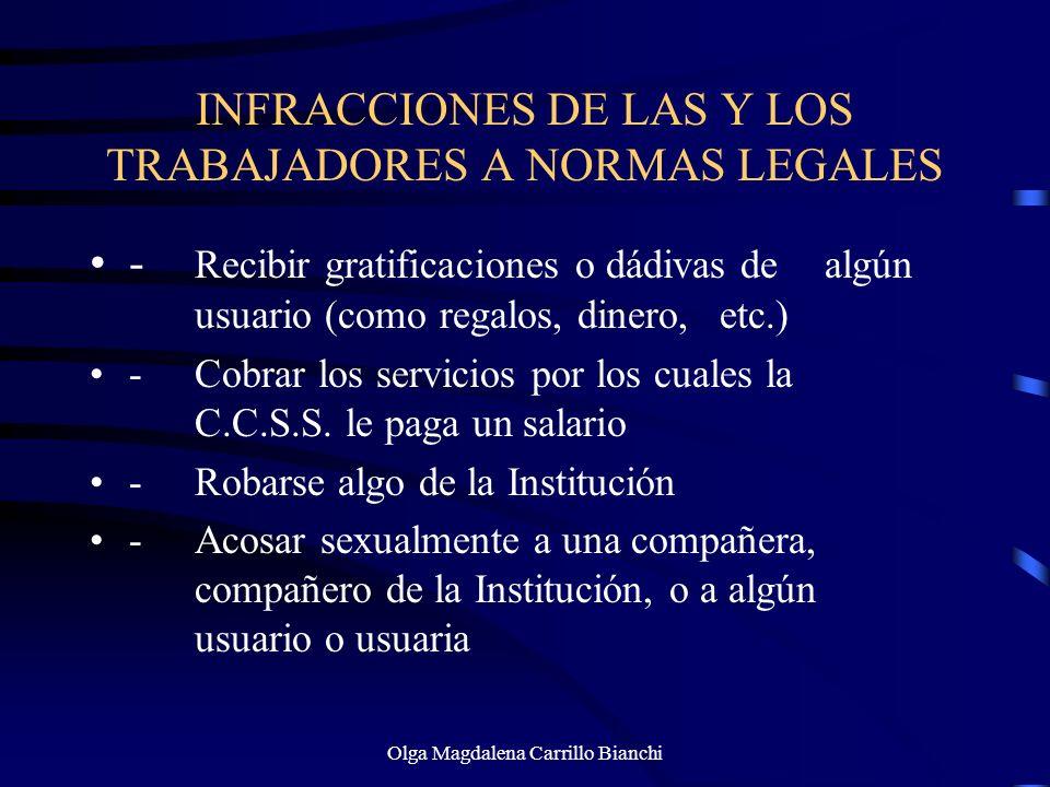 INFRACCIONES DE LAS Y LOS TRABAJADORES A NORMAS LEGALES - Recibir gratificaciones o dádivas de algún usuario (como regalos, dinero, etc.) -Cobrar los
