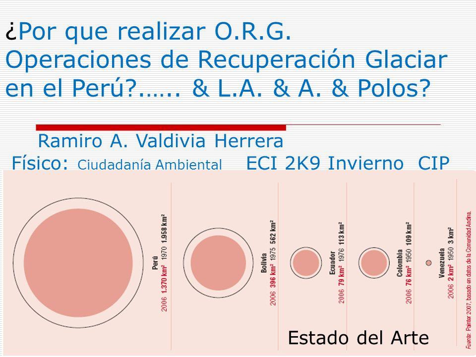 ¿Por que realizar O.R.G. Operaciones de Recuperación Glaciar en el Perú .…..