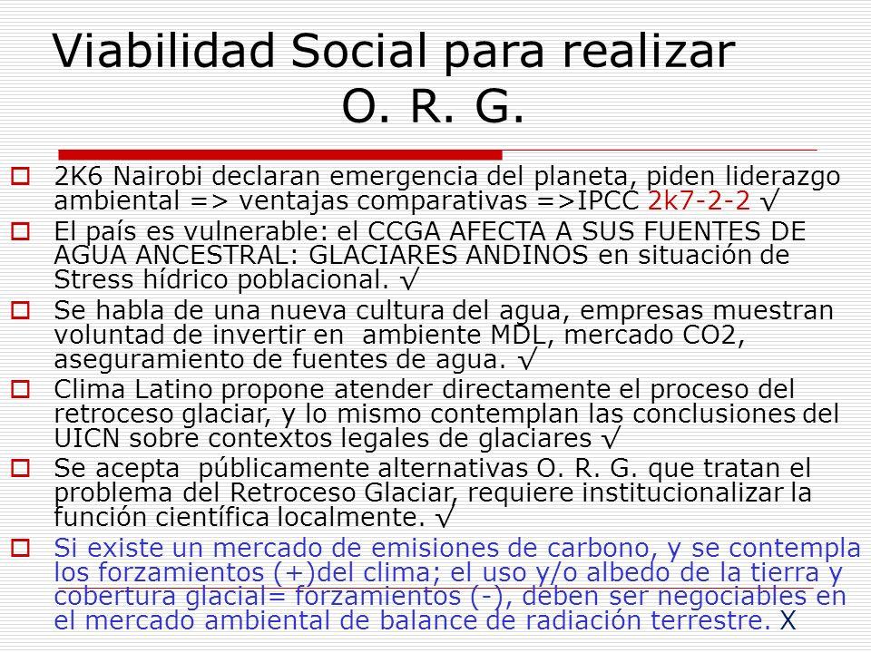 Viabilidad Social para realizar O. R. G.
